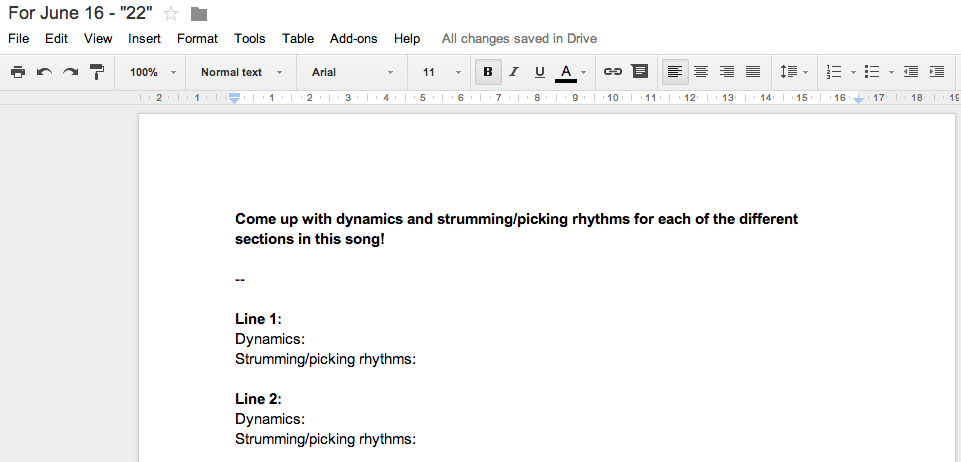 I use Google Docs to create worksheets for students.
